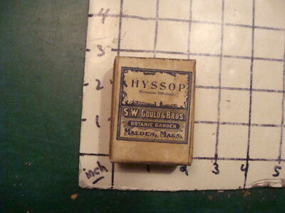 unused old store stock --S W GOULD & bros -- HYSSOP