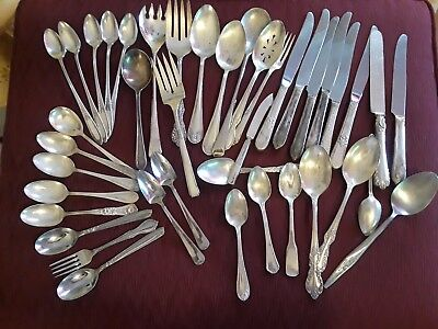 LARGE MIXED LOT Of 41 Pieces Silverplate Silverware Assorted Brands Some Vintage