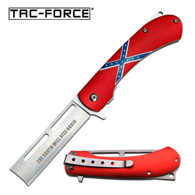 Tac-Force Southern Flag Silver Razor Blade Tactical Spring Assisted Knife