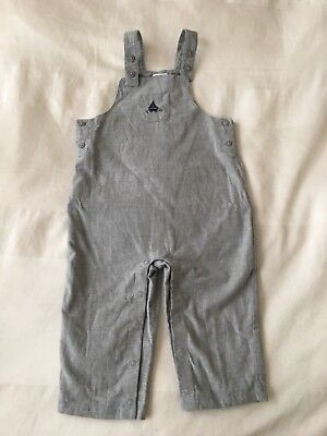 Janie And Jack Baby Gray Lightweight overalls, 12-18 Month
