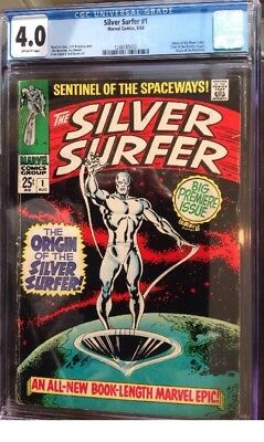 SILVER SURFER #1 Aug 1968 FIRST ISSUE - ORIGIN - CGC 4.0 VG Off-White Pages