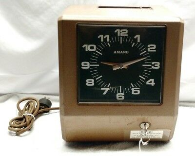 Vintage AMANO Model 6907 Time Clock Employee Electric Recorder Punch Machine Key