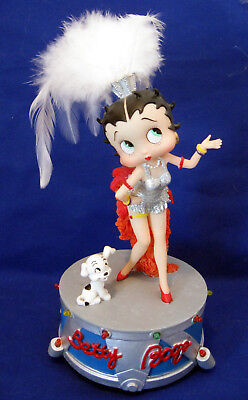 BETTY BOOP & PUDGY Music Box, Musical With Lights, Feathers - 2005 - WORKS!!