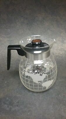 Nestle 6 Cup World Map Glass Coffee Pot Carafe Nescafe With Lid
