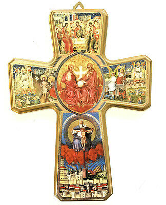 "Wall Hanging Gold Cross ART 11"" X 15"" from Franciscan Missions Holy TrinityCatho"