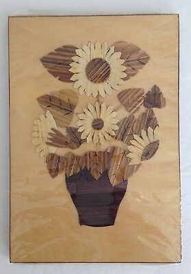 Vintage Polish Folk Art Wooden Wall Plaque With Flowers Slonecznik Hand Made