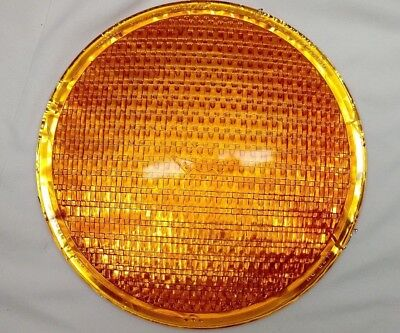 "Vintage 8 3/8""  Kopp Glass Eagle Signal Traffic Stop Go Light Amber Lens"