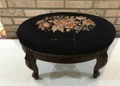 """Antique Wood Frame Oval Floral NEEDLEPOINT Tapestry Foot Stool 17""""across Studded"""