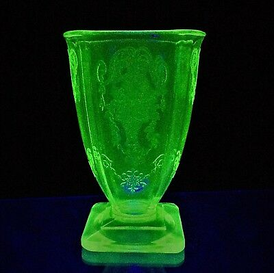 Sharp Relief Early 1900s Antique Vaseline Glass Engraved Depression Glass Vase