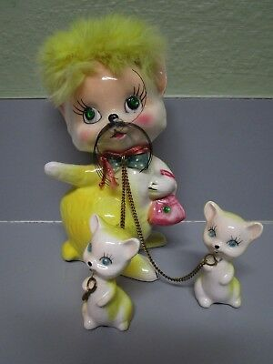 Vintage Kreiss & Company Ceramic Cat With 2 Kittens On Chain