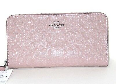 Coach Signature Debossed Blush Leather Accordion Zip Around Wallet F54805 $265