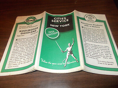 1932 Cities Service New York Vintage Road Map / Scarce Map / Near MINT Condition
