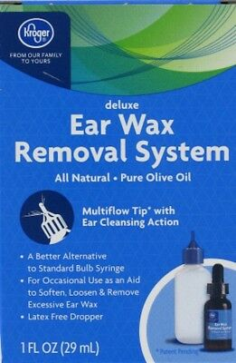 New-Kroger-Deluxe Ear Wax Removal System (1 oz)/29ml-Pure Olive Oil Drop Dropper