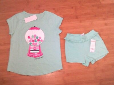 NWT Gymboree Girls Bubblegum Outfit - Size S 5-6 Tee / Top & Size 5T Shorts NEW