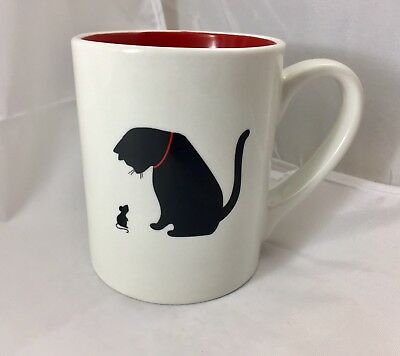 Adorable Black Cat & Mouse MUG White Red Inside Coffee Tea Cute Kitten Mice 16oz