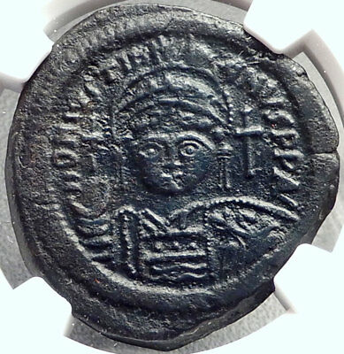 JUSTINIAN I the GREAT 527AD Follis Authentic Ancient Byzantine Coin NGC i68775