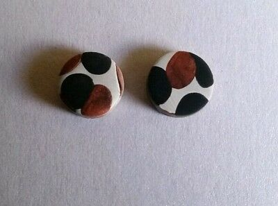 Bronze, black and white polymer clay earrings