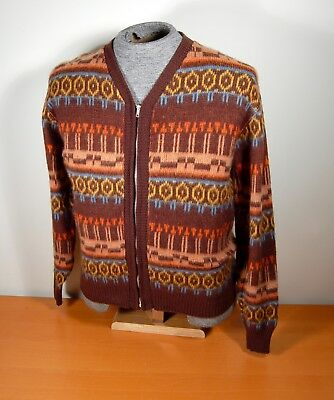 Cool Vintage 1950s Acrylic Men's Patterned Zipper Cardigan Sweater by Barclay M