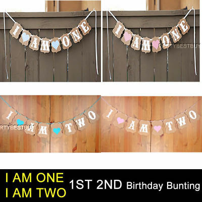 I Am One 1st Birthday Party Bunting Banner Garlands Boy Girl Baby Pink&Blue