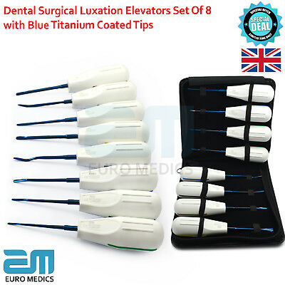 Dental Surgical Extractor Luxating Elevators With Black Pouch Blue Titanium Tool