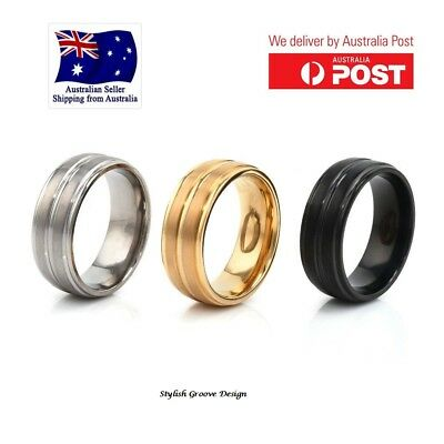 8MM Men's Titanium Steel Rings Gold/Silver/Black Wedding Band Rings Jewellery