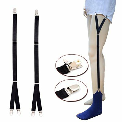 1 Pair Men's Shirt Stays Holders Elastic Garter with Elastic Locking Clamps NEW