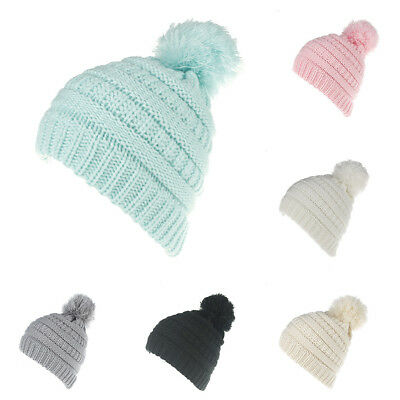 AL_ Fashion Winter Warm Babys Knitted Hat Solid Color Soft Crochet Beanie Cap Ex