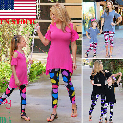 US Family Matching Outfit Mother Daughter Women Girls Tops T-Shirt Cold Shoulder