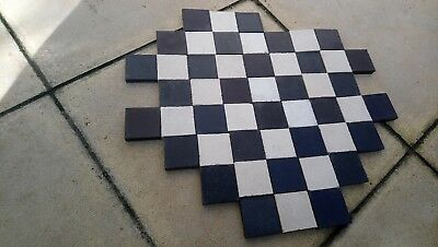 50 x Reclaimed Black and White Victorian Floor Tiles - Clean