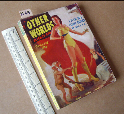 """Other Worlds USA SF Digest Mag. Oct 1951.  """"I Flew in a Flying Saucer"""" Part 1"""