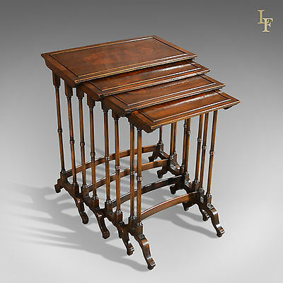 Antique Quartetto of Tables, Nest of Tables, Walnut, English, Late Victorian