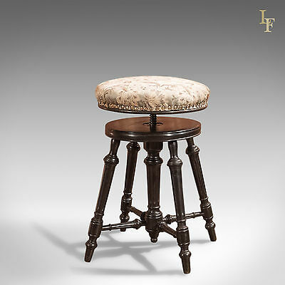 Antique Piano Stool, Adjustable Height, Music, English Aesthetic Movement c1880