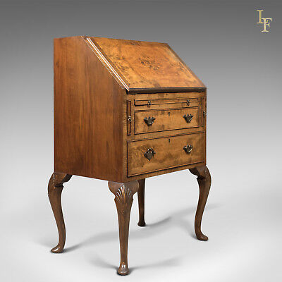 Edwardian Antique Bureau in English Queen Anne Revival Taste, Burr Walnut c.1910