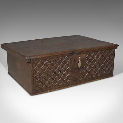 Antique Bible Box, English Oak Chest, Circa 1700
