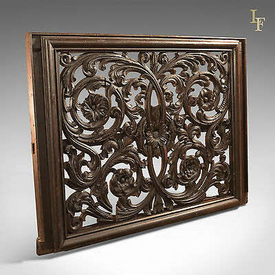 Antique Carved Wall Panel, Victorian Decorative Carving, Large, Oak C19th Screen