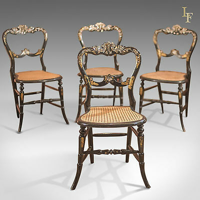 Antique Dining Chairs, Set of Four Victorian Laquered Mother of Pearl, Gold Leaf