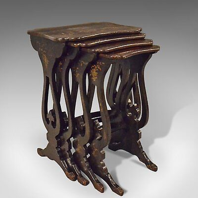 Antique Nest Of Tables, Four Chinoiserie Side Tables, 19th Century, Circa 1890