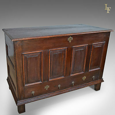 Antique Mule Chest, Late Georgian, Oak, Trunk, Side Table, English C.1800