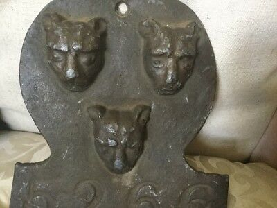Heavy Lead or Cast Iron Wall Plaque Decorated With Three Leopards Numbered 5266