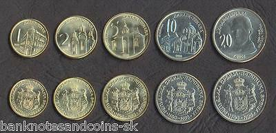 SERBIA COMPLETE FULL COIN SET 1+2+5+10+20 Dinara 2006 UNC UNCIRCULATED LOT of 5