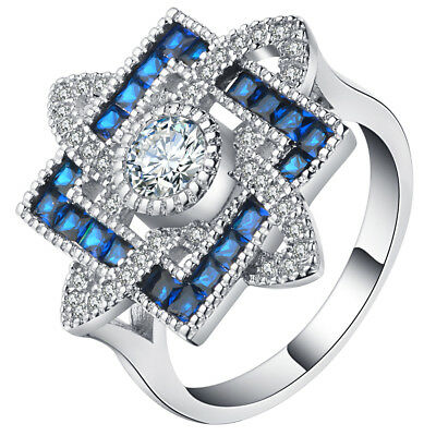 Antique Edwardian Silver Plated Cross Sapphire Wedding Jewelry Ring Size 6-10