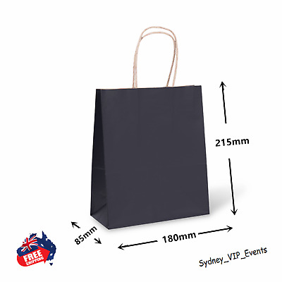 1 to 100 KRAFT BLACK PAPER GIFT CARRY SHOPPING BAGS twisted Handles - SMALL BULK