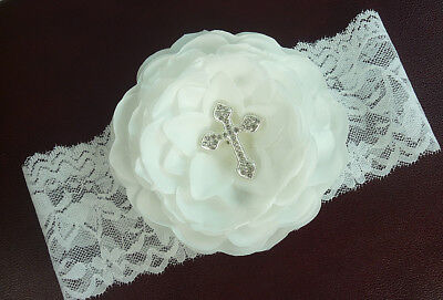 White Christening Headband with Rhinestone Cross, Girl's Baptism, Instock USA