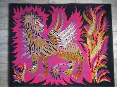 1970s Modern art tapestry Griffin French 79 x 65 cms