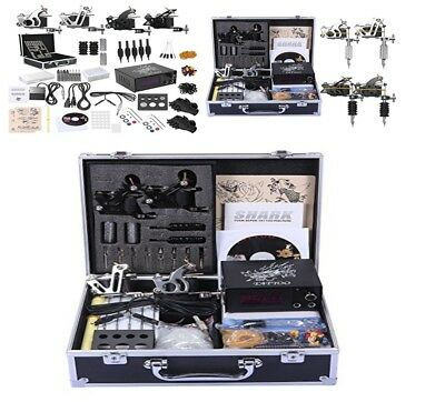 Professional Tattoo Kit 4 Machines Quality Gun Carry Case With Key Power Supply
