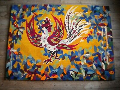 1970s Modern art tapestry French cockeral 112 x 82 cms