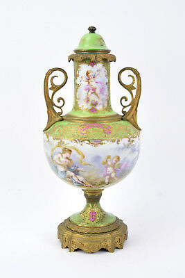 Antique Sevres Bronze Porcelain Urn Hand Painted Cupid Cherub Scenes  by Quentin
