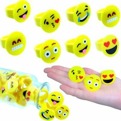 German Trendseller® - 12 x Emoji Ringe - Kinder Mix ┃ NEU ┃  Kinder