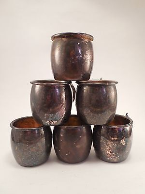 Vtg Lot of Six Towle Silverplated Silver Plate Moscow Mule Style Small Mugs Worn