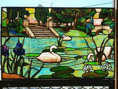 Great Antique Scenic Stained Window With Swans